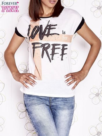 Ecru t-shirt z napisem ONLY LOVE IS FOR FREE