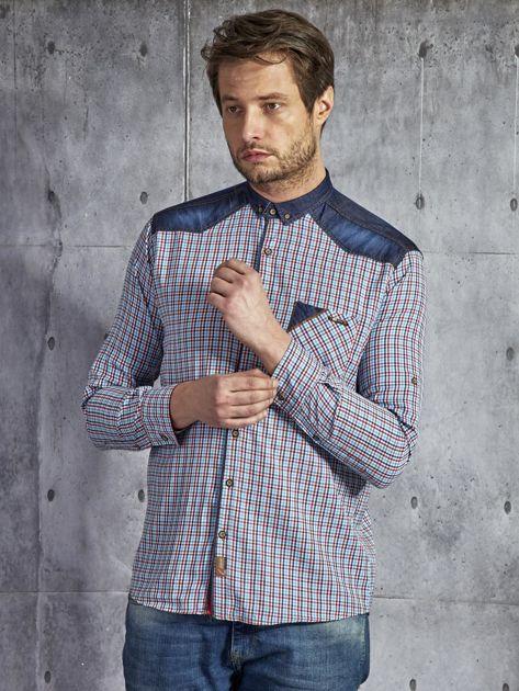 052d2b1e0a3b0a Bawełniana koszula męska w kratkę czerwono-niebieska PLUS SIZE ...