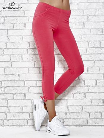 7cc081def1cad2 Różowe legginsy sportowe 7/8 z wiązaniem - Spodnie legginsy - sklep  eButik.pl